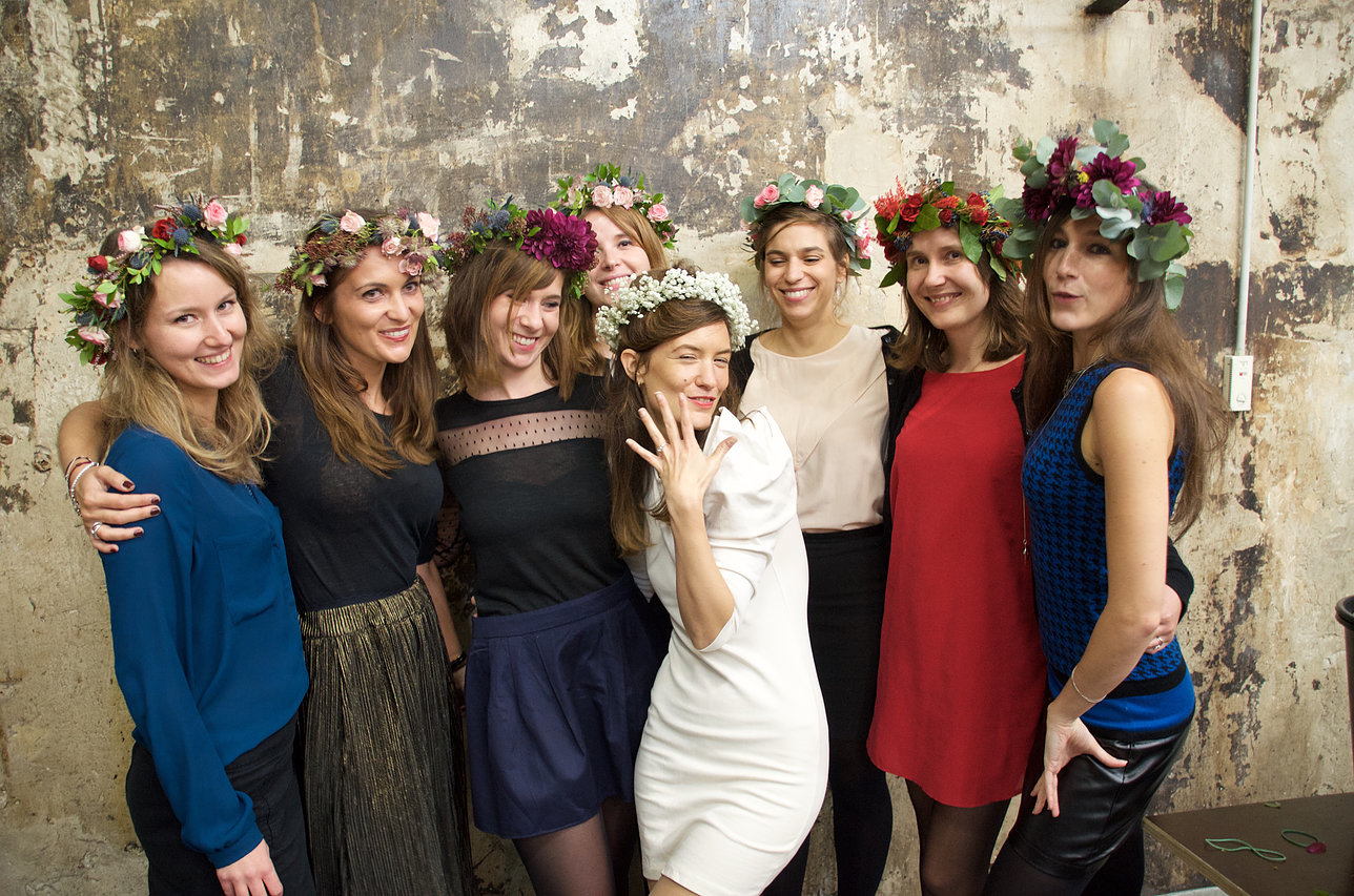 Bachelorette party flower crowns workshop